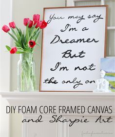 Make a DIY canvas from foam core, trim and Sharpies!