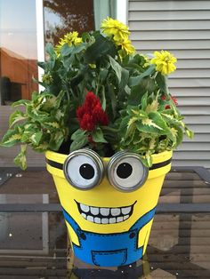 Minion Flower Planter Pot – garden crafts for kids to make – flower pot people – paint minion faces on flower pots. Minion Flower Planter Pot – garden crafts for kids to make – flower pot people – paint minion faces on flower pots. Painted Clay Pots, Painted Flower Pots, Flower Planters, Cactus Flower, Flower Pot Art, Flower Pot Crafts, Diy Flower, Clay Pot Projects, Clay Pot Crafts