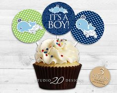 Instant Download Whale Cupcake Toppers 2 Whale by Studio20Designs