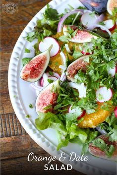 This beautiful orange and date Ottolenghi salad is bursting with complimentary sweet, sour & bitter flavors. Add fresh figs to take it right over the top. Salad Bar, Soup And Salad, Ottolenghi Salad, Otto Lenghi, Warm Salad, Main Dish Salads, Fresh Figs, Healthy Salad Recipes, A Food