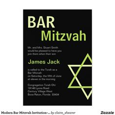 Modern Bar Mitzvah Invitation- Green & Black 5x7 Paper Invitation Card