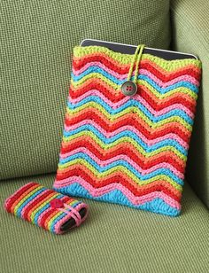 Rainbow Stripes Tablet or Phone Cozy: free pattern