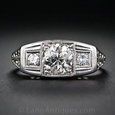 .85 Carat Center Art Deco Diamond Engagement Ring