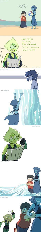 (Steven Universe) Steven, Lapis Lazuli and Peridot Steven Universe Lapidot, Steven Universe Funny, Gorillaz, Gravity Falls, Universe Art, Beach Fun, Adventure Time, Crossover, Fandoms