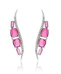 brinco da moda rubi com zirconias cristais e banho de rodio semi joias de luxo