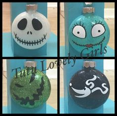Nightmare Before Christmas Ornament set by MagnoliaCountryCharm (Diy Ornaments Disney) Nightmare Before Christmas Ornaments, Christmas Ornament Sets, Diy Christmas Ornaments, Christmas Projects, Halloween Crafts, Holiday Crafts, Halloween Prop, Halloween Witches, Ornament Crafts