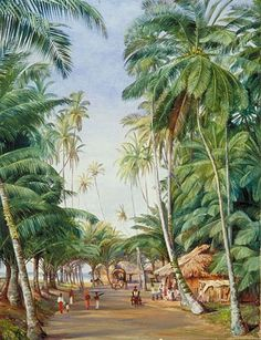 roadside-scene-under-the-cocoanut-trees-at-galle-ceylon-by-marianne-north