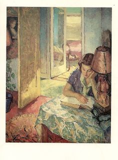 Dorothy Reading (1956). Mischa Askenazy (Russian, 1888-1961).  In the United States, he established himself as a highly successful portrait, landscape and still-life painter. During the 1920s he averaged fifty thousand dollars a year as a portraitist to the wealthy.  Showing the influence of Cezanne, Askenazy's work reflected the European-inspired Modernism that made its way west in the early twentieth century.