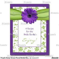 Purple Daisy Green Floral Bridal Shower Recipe Postcard