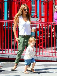 Jessica Alba with her daughter Haven at a playground in Soho in New York City.  (September 2013)