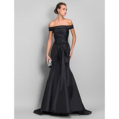 f96e5dad633   129.99  Mermaid   Trumpet Off Shoulder Sweep   Brush Train Taffeta Formal  Evening Dress with Sash   Ribbon   Ruched by TS Couture®