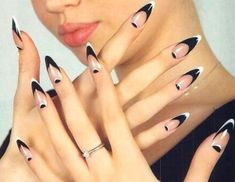Cool Stiletto Nails Designs To Try - Styles Art French Manicure Designs, French Tip Nails, Nail Art Designs, Nails Design, Black French Nails, French Manicures, Black And White Nail Designs, Black White Nails, Red Black