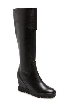 Free shipping and returns on MAXSTUDIO 'Zuni' Tall Wedge Boot (Women) at Nordstrom.com. A fold-over cuff adds a striking vintage element to a must-have tall boot shaped from rich, pebbled leather and grounded with a hidden wedge heel.