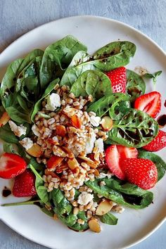 Spinach & Strawberry Salad with Wheat Berries