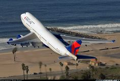 The Delta 747 -400 at LAX - Air to Air shot by Sam Chui