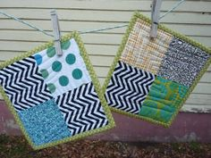 Four square quilted potholders by WinterSongBooks on Etsy, $16.00