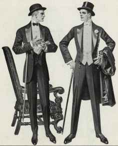 An Edwardian style tux was apart of any high class man's wardrobe.