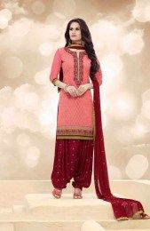 Salmon Color Elegant & Beautiful All New Fashionable Unstitched Patiala Suit