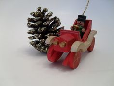 Vintage Christmas Ornament   Wooden Car by Russ by SuburbanVintage