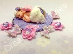 Sweet Angel Baby Girl Cake Topper/Baby Angel Cake Topper /BABY SHOWER Edible Cake Topper/Baby Fondant Cake Topper/Christening