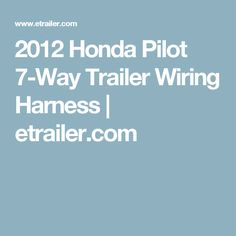 2012 Honda Pilot Trailer Wiring Harness - Wiring Diagram Co1 on