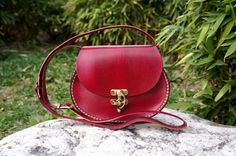 Red Oval leather messenger bag small by GalenLeather on Etsy, $39.00
