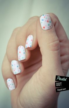 pastel polka dots nail art nails varnish polish white dots