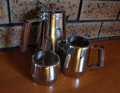 Vintage Stainless Steel Tea Pot Sugar Bowl Creamer Set Treasure Chest by Radmore