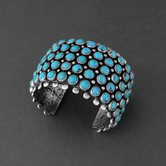 Wright's Indian Art - Native American Indian Art, Jewelry, Pottery, Kachinas, Fetishes & Sculpture > Turquoise Wide Row Cuff, Ernest Rangel, Bracelets Jewelry, Navajo, Wright's Indian Art