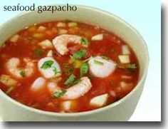 Seafood Gazpacho  While traditional gazpacho is not made with seafood, this unique variation makes this version more nutritious and satisfying and a great addition to your Healthiest Way of Eating. Enjoy the extra boost of those hard-to-find omega-3 fatty acids that come from both the shrimp and scallops.