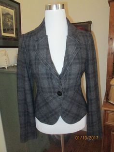 *ANTHROPOLOGIE TULLE CHARCOAL GRAY/BLK SUBTLE PLAID WOOL FITTED BLAZER SZ M NWOT #AnthropologieTULLE #BasicJacket