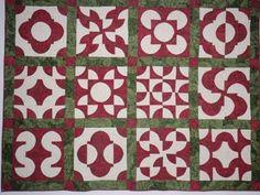 drunkard's path quilt pattern variations | Red and green drunkard's path quilt.