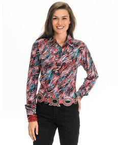cc246384635ac Women s Multi-Color Metallic Print Shirt by Wrangler Rodeo Shirts