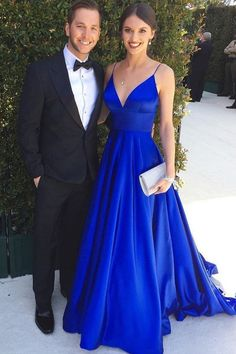 Ball Gown V Neck Spaghetti Straps Royal Blue Prom Dress#prom #promdress #royalbluepromdress #vneckpromdress Prom Dresses With Pockets, Cheap Prom Dresses, Graduation Dresses, Marine Uniform, School Dance Dresses, Royal Blue Prom Dresses, Royal Blue Evening Gown, Blue Gown, Simple Prom Dress