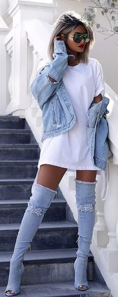 #winter #outfits blue denim jacket
