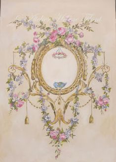 !✿ Le Marché aux fleurs ✿: Ornament of roses , garland & bird painted in the ...