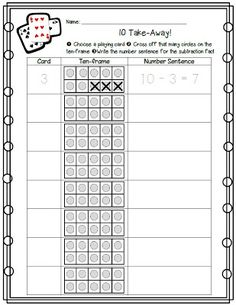 Math Coach& Corner: Ten Take-Away. In this easy game that requires only a deck of cards and a recording sheet the ten-frames are filled, and the card drawn is subtracted from ten. Math Classroom, Kindergarten Math, Teaching Math, Classroom Freebies, Teaching Ideas, Classroom Ideas, Preschool, Science Experience, Math Subtraction