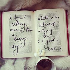 """""""I love nothing more than a rainy day with a blanket, a cup of tea and a good book."""" ~Unknown Author"""