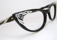 DESCRIPTION: A great look for casual accessorizing or for adding prescription lenses to these show stopping hipster style frames (see Additional Comments link below)! The beautiful Swarovski crystals Cool Glasses, New Glasses, Cat Eye Glasses, Glasses Frames, Four Eyes, Cat Eye Frames, Silver Cat, Black Silver, Clothes Horse