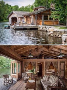 Beautiful lakeside cottage with one wall opening to the deck/water.
