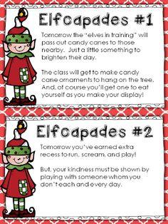 *Teaching Maddeness*: Elfcapades {Elf in the Classroom + Random Acts of Kindness} FREEBIE 2nd Grade Classroom, Classroom Fun, Future Classroom, Classroom Activities, Kindergarten Classroom, Classroom Incentives, Kindergarten Christmas, Seasonal Classrooms, Kindergarten Rocks