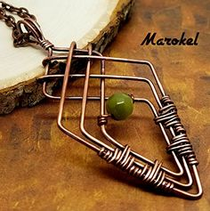Green Crossover Diamond Necklace Copper Wire Wrapped Oxidized Metal Angles Geometric Cats eye