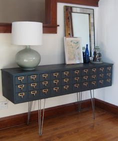 DIY: Card Catalog Credenza. I have two card catalogs just this size & shape that are waiting in my garage for this makeover!