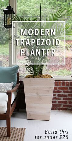 DIY planter. Build this Modern Trapezoid Planter for under $25. Blogger provides free plans and drawings along with instructions.
