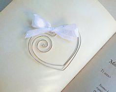 Conjunto de 5 piezas. Marcador de hilo de plata corazón con by ArtinGarage | Etsy