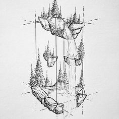"""Dusty Brockway """"A floating scene from Friday's Night Market. Landscape Pencil Drawings, Landscape Tattoo, Tattoo Drawings, Art Drawings, Stippling Art, Scribble Art, Fantasy Art Landscapes, Nature Drawing, Black And White Drawing"""