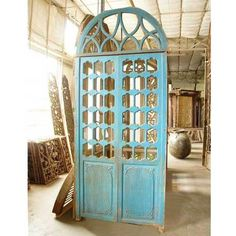 Indo Portuguese Blue Painted Teak Double Door Transom Vintage 1870 Sold Each | eBay