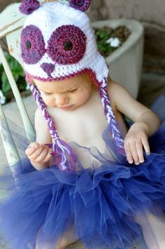Purple Panda Bear Hat - Photo Prop - Halloween Costume - Newborn Baby Toddler Sizes.  by Frosted Poppies