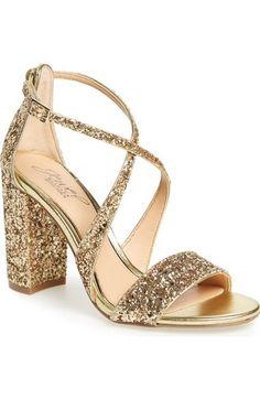 Badgley Mischka Cook Block Heel Glitter Sandal (Women) available at #Nordstrom