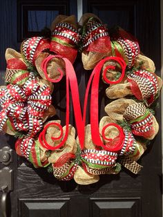 LARGE Burlap Christmas Wreath // Red // Lime Green // Black // Chevrons // Monogram wreath